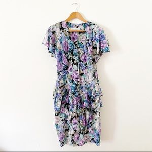 Vintage 1980's Floral Sheath peplum Buttoned Dress